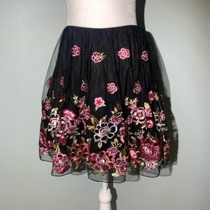 City Studio Floral Embroidered Layered Skirt 5